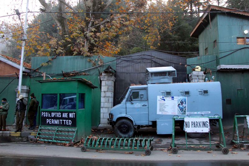Security force vehicle parked outside Mehbooba Mufti's residence
