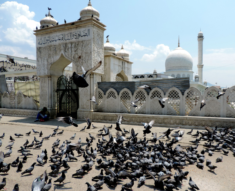 A glimpse of the front view of famous Hazratbal Shrine in Srinagar