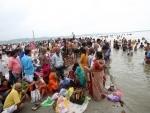 Devotees take holy dip on Ganga Dussehra in Prayagraj