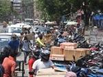 Heavy traffic jam outside Chandni electric market in Patna