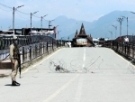 View of security forces enforcing strict lockdown in Srinagar