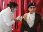 RPF Jawan receives Covishield dose in Prayagraj