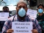 JK Employees Joint Action Committee members demonstrate in Srinagar