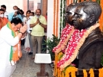 JP Nadda pays floral tributes to Shyama Prasad Mookherjee on his death anniversary in Delhi