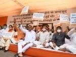 Delhi BJP President Adesh Gupta sitting on dharna
