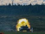 Tank crew of Syria take part in the tank biathlon game