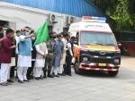 Rajnath Singh flags off five critical care ambulances