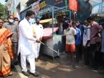 Union minister G Kishan Reddy launching sanitation drive in Secunderabad to curb Covid-19