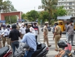 Police checking documents of vehicles during lockdown in Hyderabad