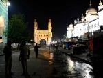 A deserted view of Charminar during night curfew in Hyderabad