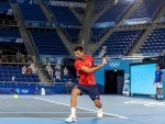 Novak Djokovic practices ahead of Tokyo Olympics