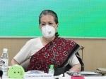 Sonia Gandhi at CWC meeting in New Delhi