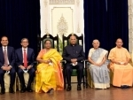 Ram Nath Kovind, UP Guv Anandiben Patel, CM Yogi Adityanath at Lucknow's Rajbhavan