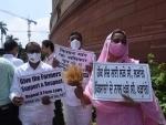 Shiromani Akali Dal leader Harsimrat Kaur Badal demonstrate against new farm law