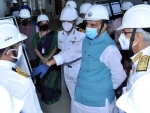 Defence Minister Rajnath Singh inspecting progress of construction of Indigenous Aircraft Carrier (IAC)