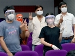 Jabalpur: Young people show victory sign after receiving COVID19 vaccine first dose