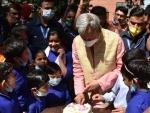 Uttarakhand CM Tirath Singh Rawat at an Ashram in Dehradun