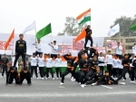 Police personnel marching during full dress rehearsal for Republic Day