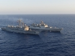 INS Tabar undertaking maritime partnership exercise at sea in Alexandria