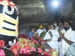 Telangana Sports Minister V Srinivas Goud offer prayer at Ramappa Temple in Mulugu District