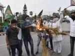 RJD students wing activists burn Nitish Kumar's effigies in Patna
