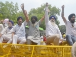 Members of Jago Party staging a protest outside Jammu and Kashmir House