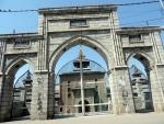 A view of historic Jamia Masjid in Srinagar being closed amid Covid-19 curbs