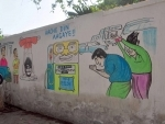 Glimpses of wall posters lampooning political parties in Kolkata