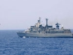 INS Tabar undertaking exercise at sea