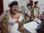 Officer receiving COVID-19 vaccine in Prayagraj