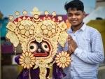 Biswajit Naik creates miniature image of Gajanan vesha of Lord Jagannath using ice cream sticks