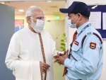 PM Modi interacts with frontline worker at Ram Manohar Lohia hospital as India crossed 100 crore vaccination