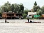 Security forces guarding Budshah Chowk in Srinagar