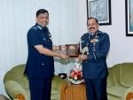 Air Chief Marshal RKS Bhadauria with Bangladesh Air Marshal Shaikh Abdul Hannan