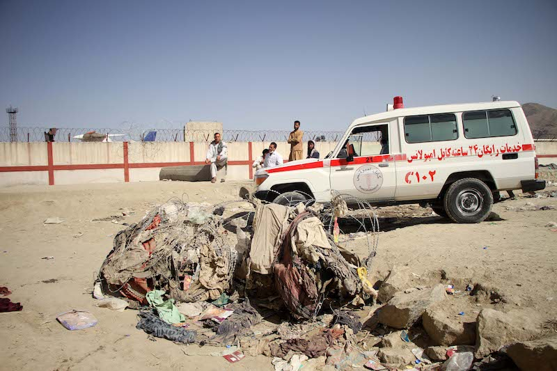 The explosion site near Kabul airport that killed over a 100
