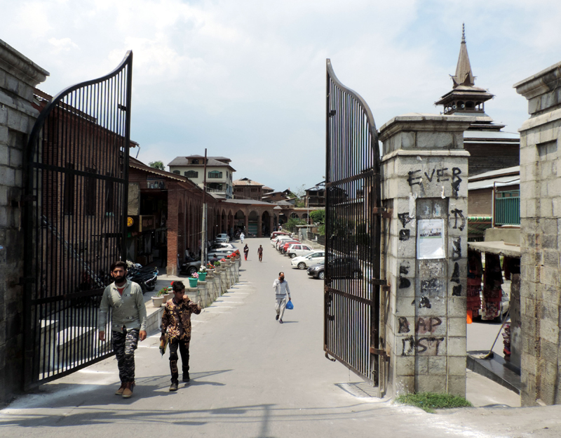 A view of Srinagar's Jamia Masjid Complex which remained closed for Friday prayers due to Covid19