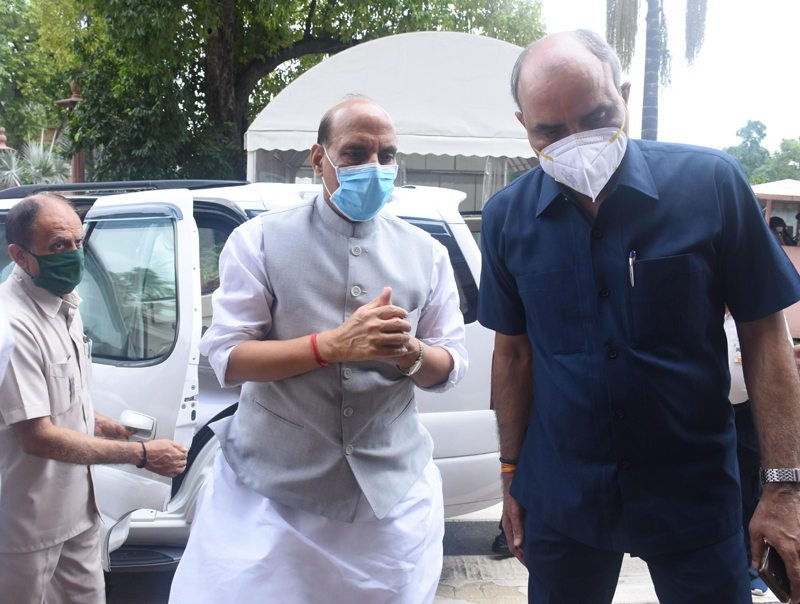 Rajnath Singh arrives at parliament during the monsoon session
