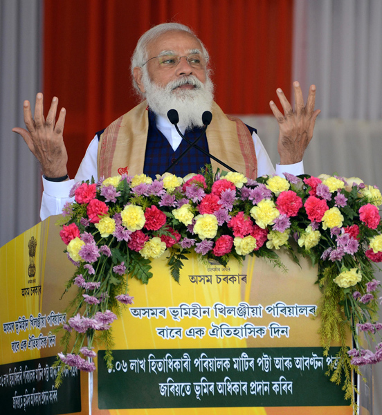 Assam: Naredra Modi distributes land patta to landless people during public meeting