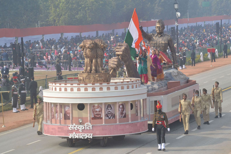 Rajpath during dress rehearsal of Republic Day Parade-2021