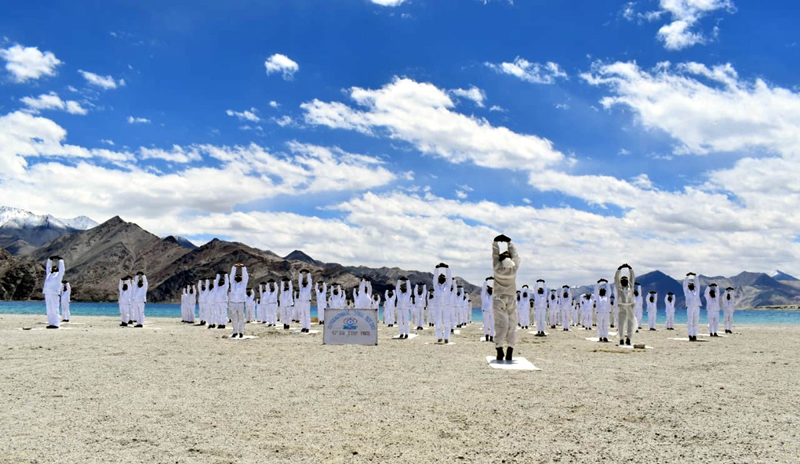 ITBP personnel practice Yoga in Ladakh