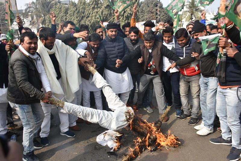 RJD protests against Nitish Kumar in Patna