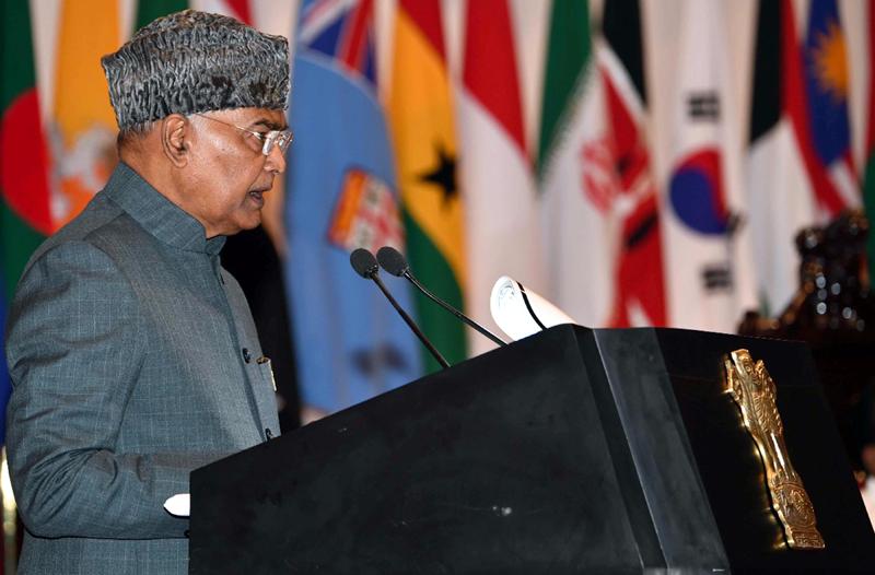 President Ram Nath Kovind addressing Student Officers at Defense Services Staff College in Wellington