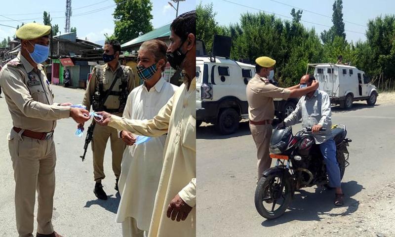 Face mask distribution in Kashmir
