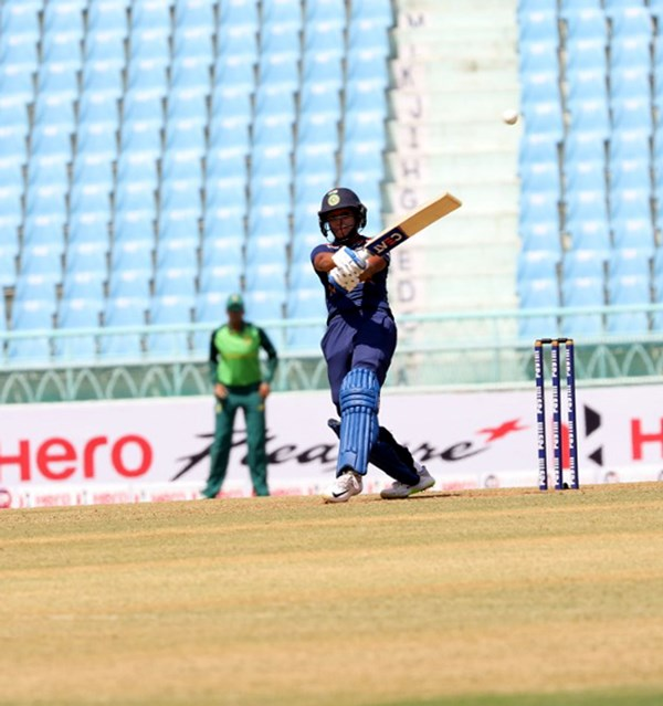 Paunam Raut celeberates her hundred against South Africa