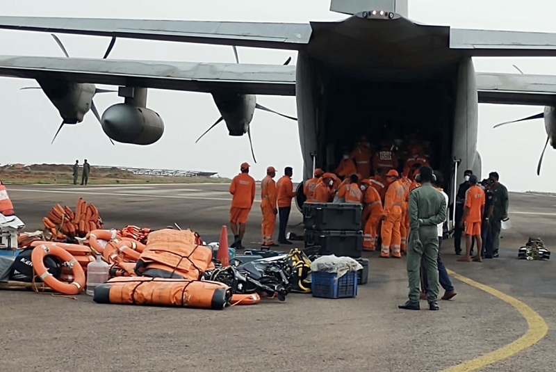 NDRF personnel boarding IAF aircraft for Cyclone relief work in Jamnagar