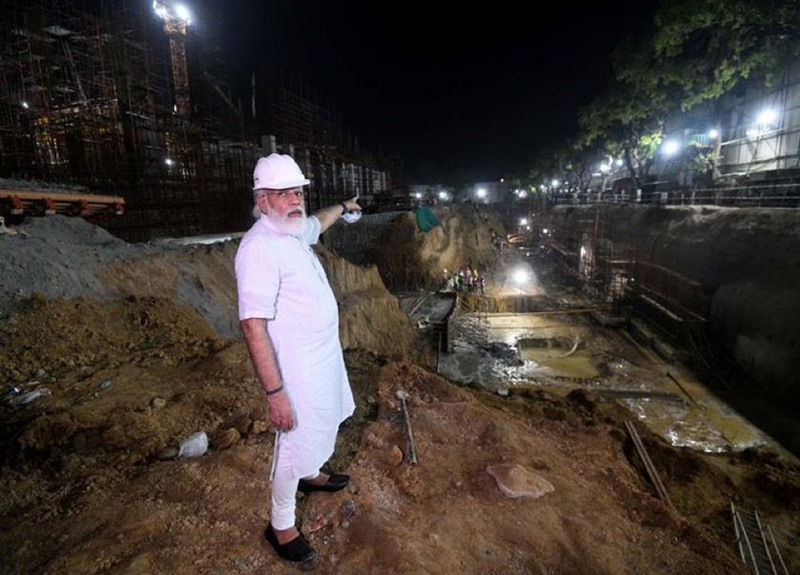 PM Modi inspecting the construction site of new Parliament building