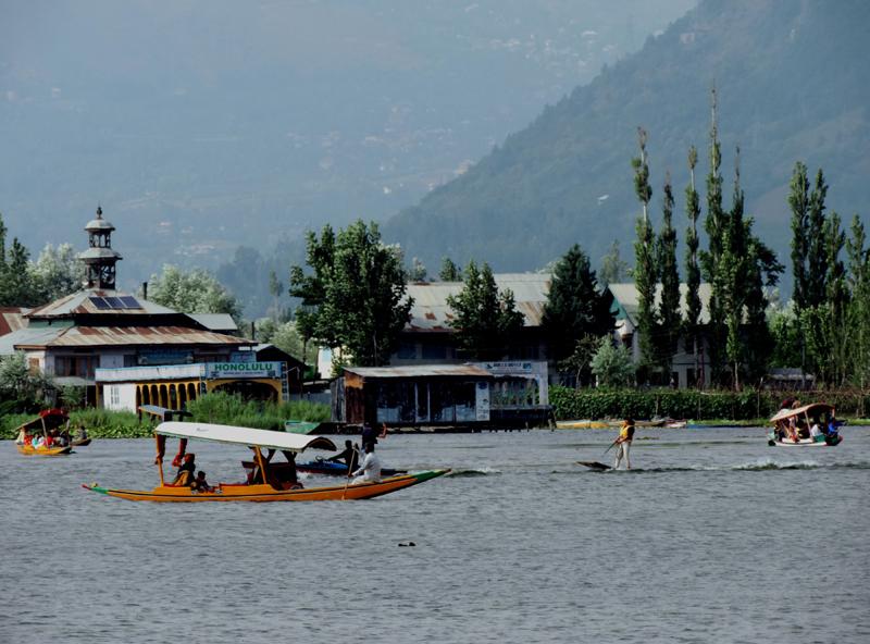 A tourist enjoying water skiing in Kashmir's Dal Lake