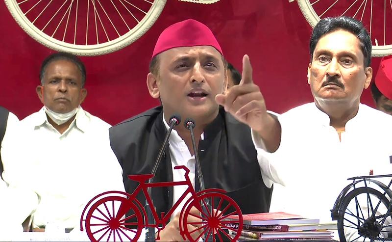 Akhilesh Yadav addresses press conference in Lucknow