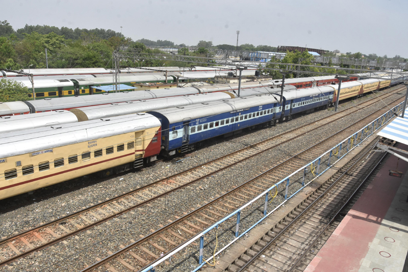 An arial view of Hatia railway station in Ranchi ahead of Cyclone Yaas