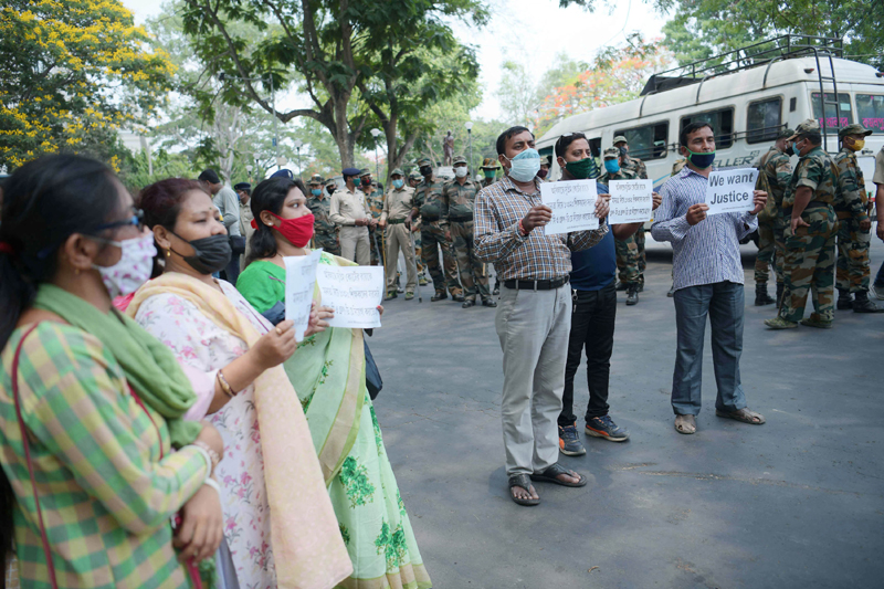 Terminated teachers protest in Agartala